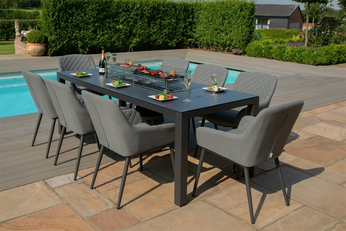 maze zest 8 seater rectangular outdoor fabric dining set with fire pit free cover