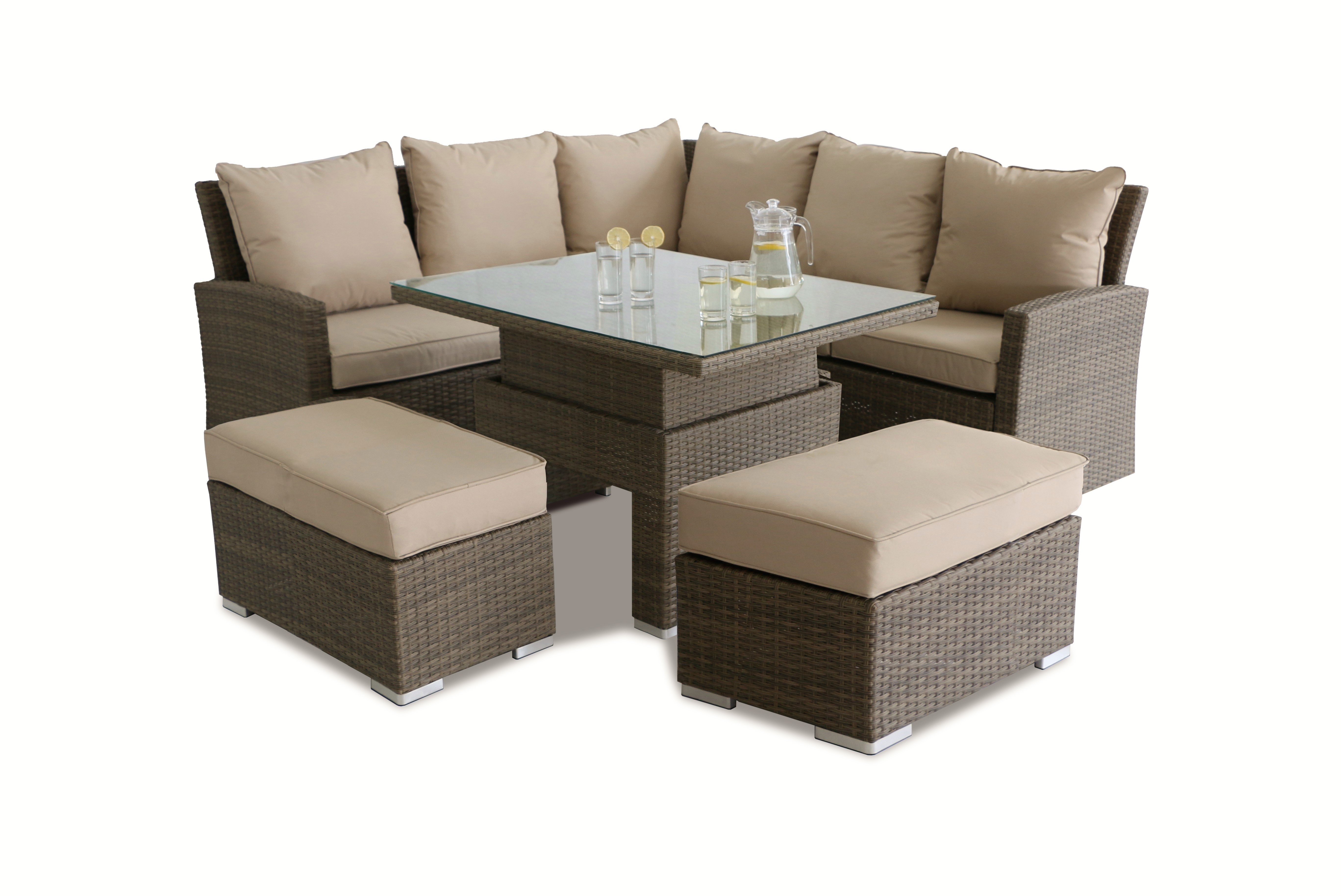 Maze Rattan Richmond Corner Bench Dining Set Amp Rising Table Rattan Furniture Fairy