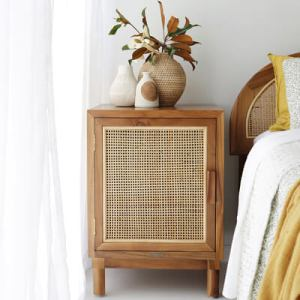 teak and rattan bedside table