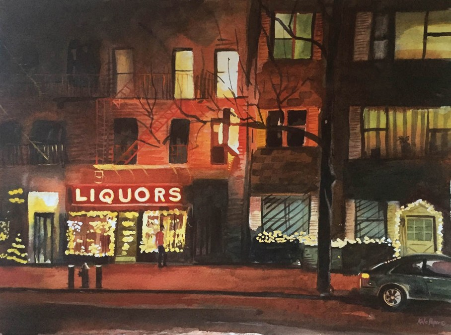 Image by Kate Peper, watercolor painting of street scene at night with liquor store