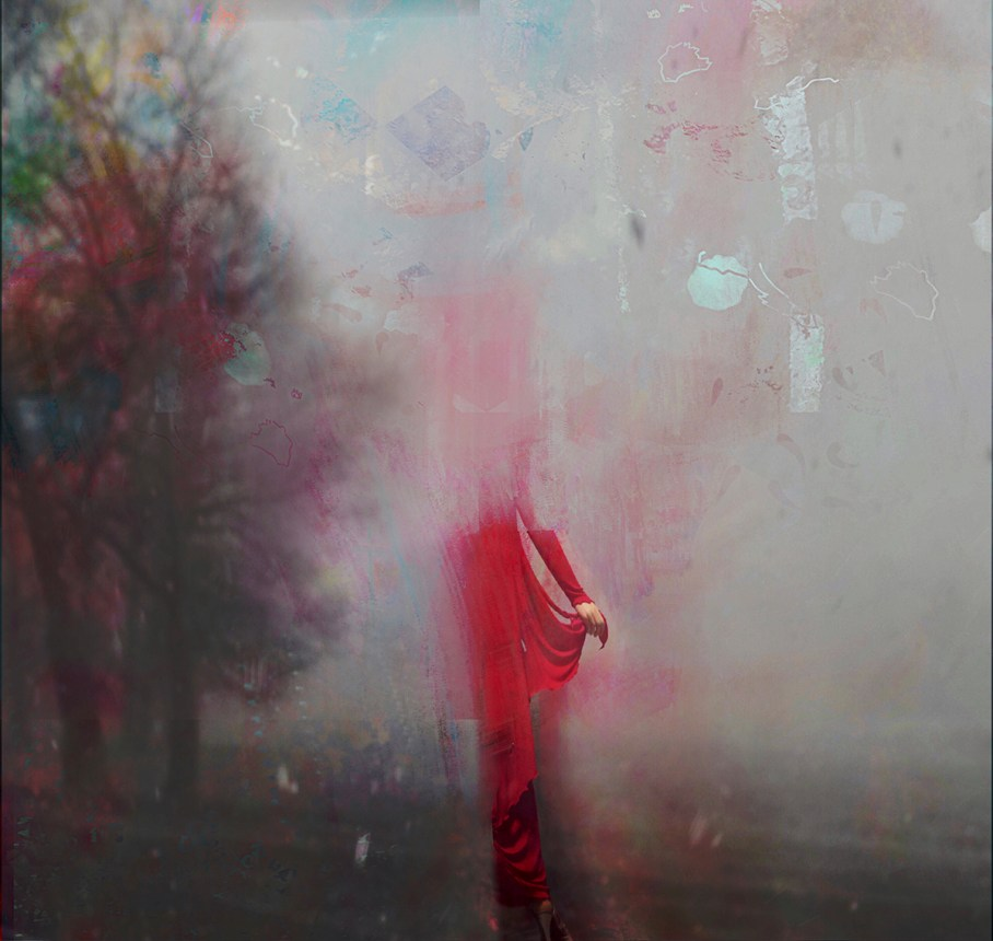 Image by Susy Kamber, painting of a woman in a red dress materializing against a gray sky