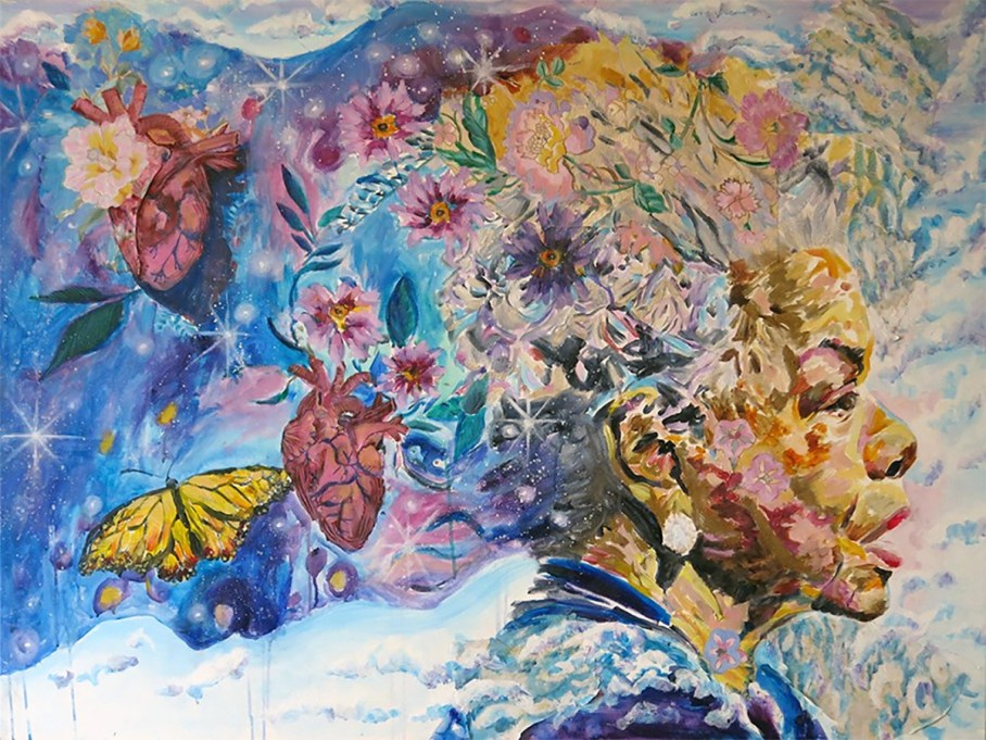 Image by Rachel Slotnick, collage painting of Maya Angelou with hearts and butterflies