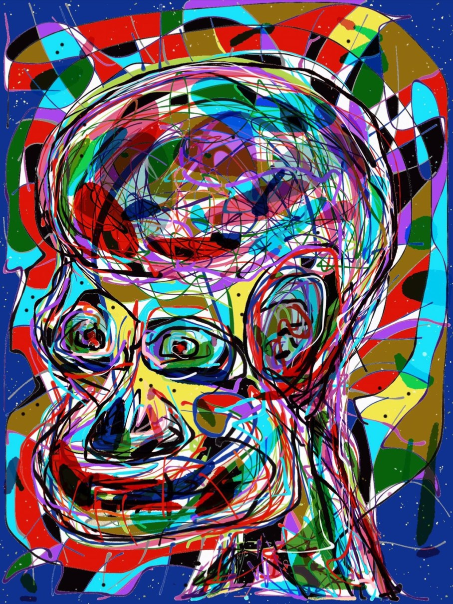 portrait of figure drawn in a mess of colorful lines