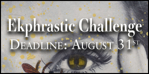 Ekphrastic Challenge, deadline at the end of the month, image of a woman with bee on face