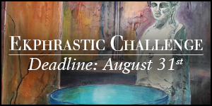 Ekphrastic Challenge, deadline at the end of the month, painting of a blue bowl near a Roman statue