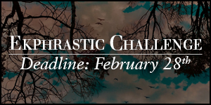 Ekphrastic Challenge, deadline at the end of the month, photograph of trees and birds in silhouette against blue water