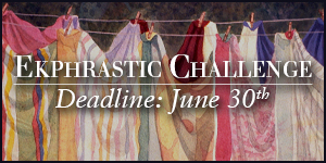 Ekphrastic Challenge, deadline at the end of the month, watercolor image of sheets hanging on a line