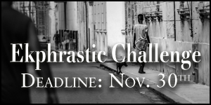 Ekphrastic Challenge, deadline at the end of the month, image of boy with dog on a city street