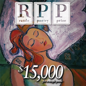 2020 Rattle Poetry Prize Banner, redheaded angel, text reading $15,000 prize for a single poem
