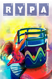 cover of 2021 Rattle Young Poets Anthology, photograph of a girl on a merry-go-round