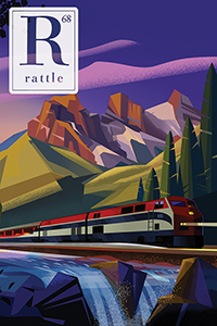 cover of issue 68, train driving past river and bear
