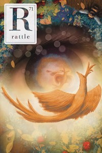 Rattle #71 cover, colorful painting of a spiral eye with birds swirling around it
