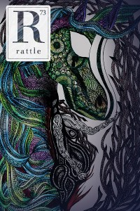 Rattle #73 cover, purple and blue abstract painting of a horse-shaped goddess