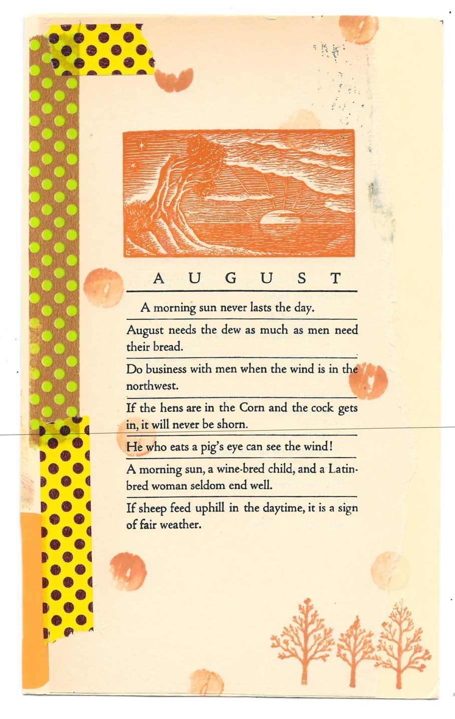 postcard with poem about August and trees