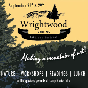 2019 Wrightwood Liteary Festival Banner, image of forest at sunset
