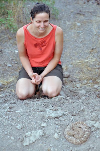 Melissa and Henry, a western diamondback rattlesnake