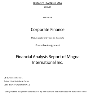 Financial Analysis Report of Magna International Inc.