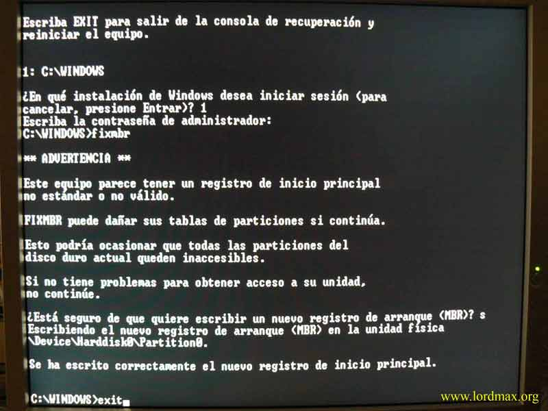 """Recuperar MBR desde Windows XP o el famoso """"Disco de inicio de Windows 98"""""""