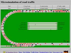 Microsimulación de tráfico en carretera.