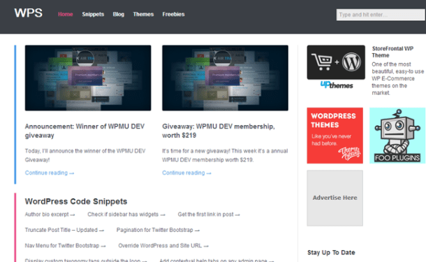 wordpress code snippets website resource