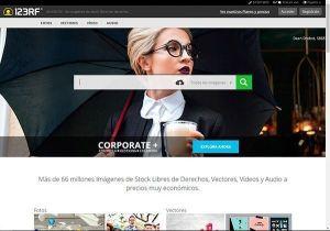 Captura de pantalla de la página de inicio del banco de imágenes 123RF donde puedes comprar fotos profesionales y baratas para tu web y tu blog