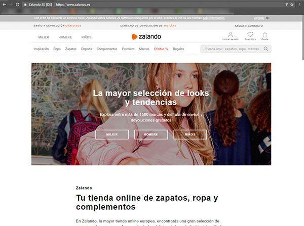 Captura de pantalla de la página de inicio genérica de la web de Zalando donde podemos ver el tipo de fotografía para ecommerce de moda que utilizan en esta sección