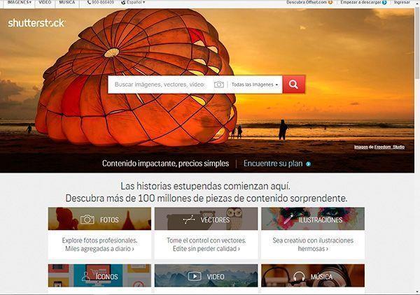 Captura de pantalla de la página de inicio del banco de imágenes Shutterstock donde puedes comprar fotos profesionales y baratas para tu web y tu blog
