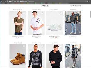 Captura de pantalla del catálogo de productos de la web de Zalando donde podemos ver el tipo de fotografía para ecommerce de moda que utilizan en esta sección