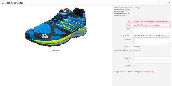 Captura de pantalla de WordPress indicando el lugar donde va el nombre de archivo para optimizar imágenes para web