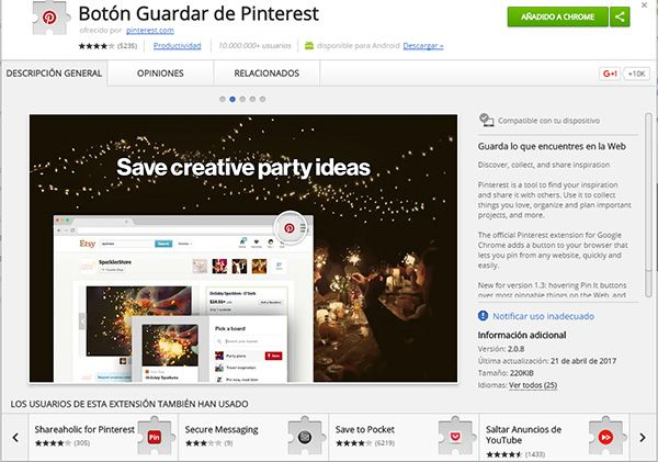 Botón guardar de Pinterest en la Chrome Web Store