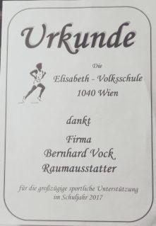 Urkunde Elisabeth Volksschule 2017