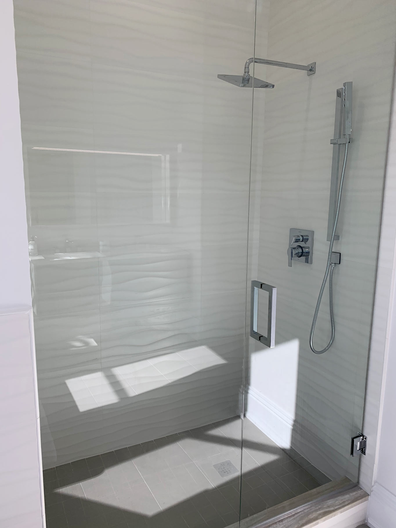 new master bathroom with floating