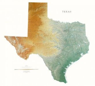Texas Elevation Tints Map   Beautiful Artistic Maps Texas Map