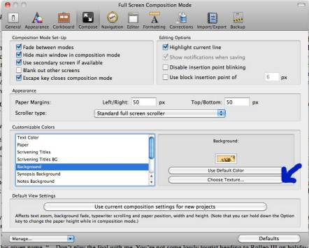 Scrivener Saturday Full Screen Mode Changing the Background