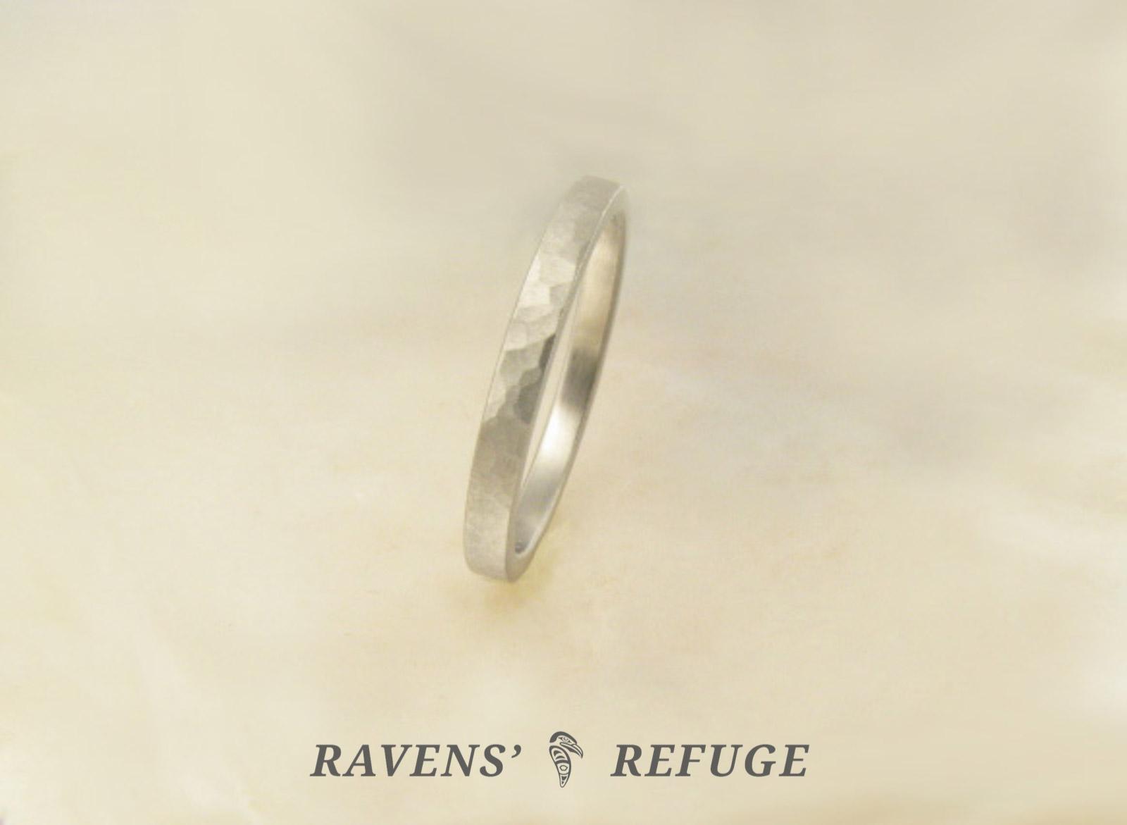 Handmade Platinum Ring With Matte Finish Hammered