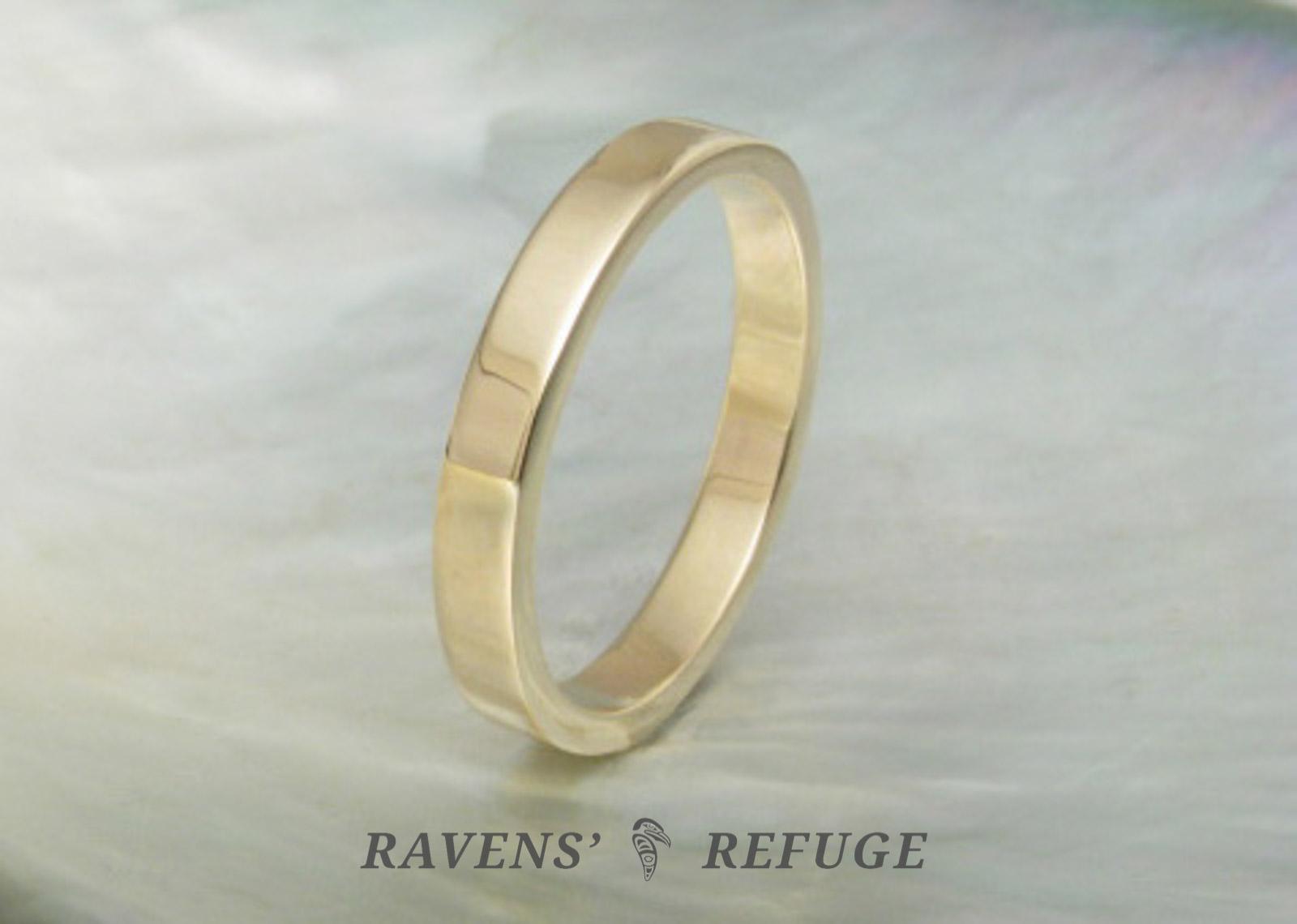 Flat Wedding Band Simple Gold Wedding Ring Ravens Refuge
