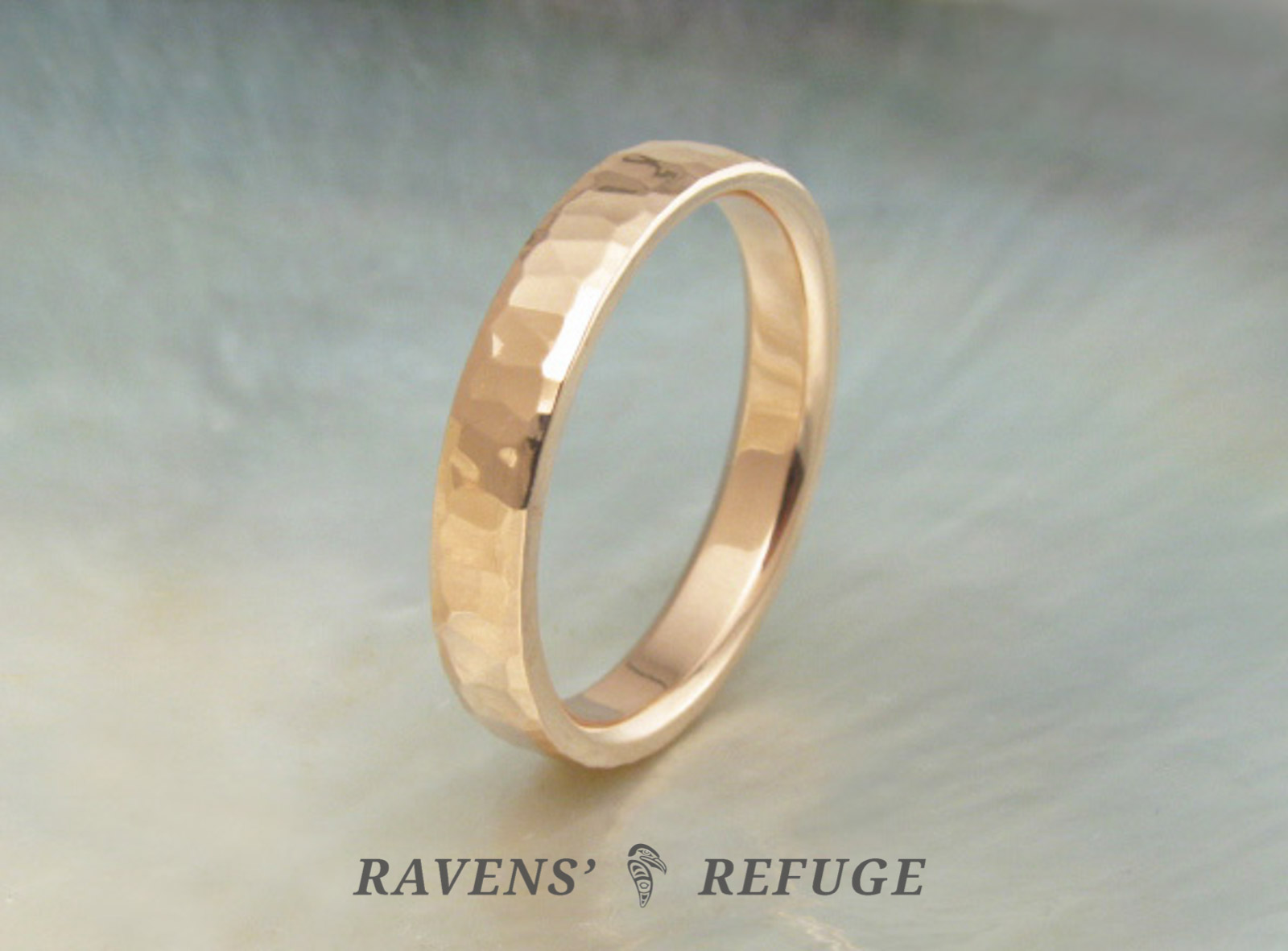 Hand Beaten 3mm 18k Rose Gold Ring Unique Hammered