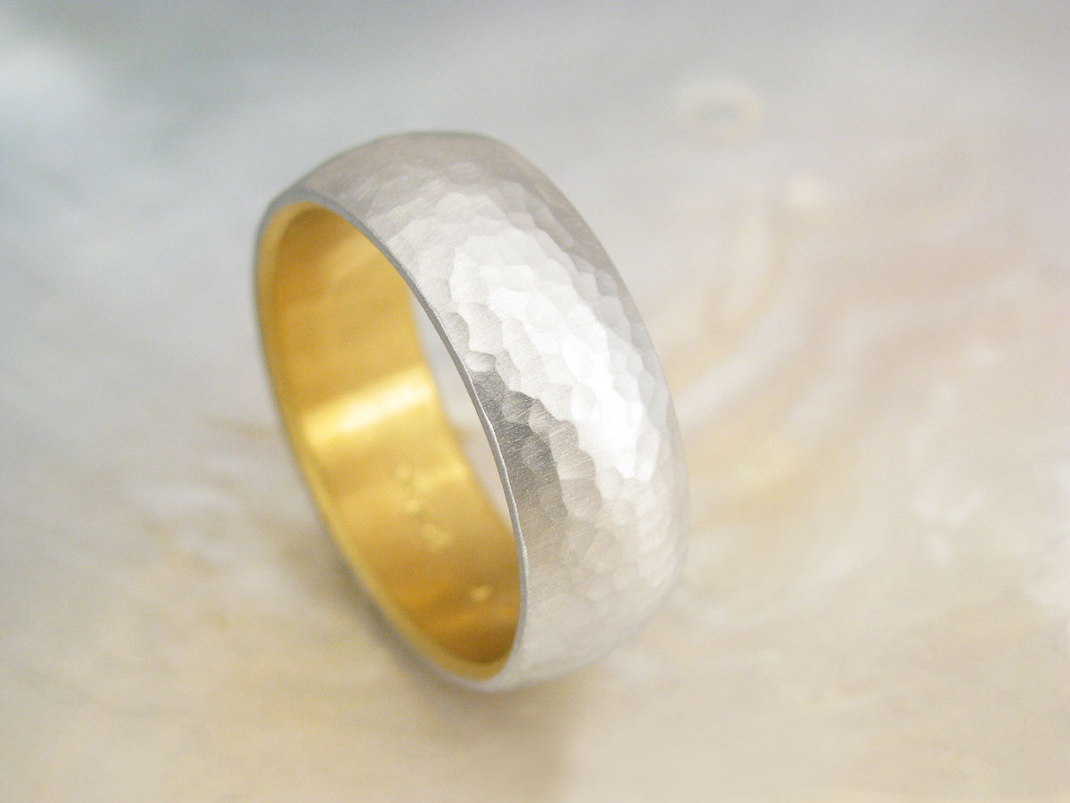 Mens Platinum Wedding Band Hammered Platinum And 24k