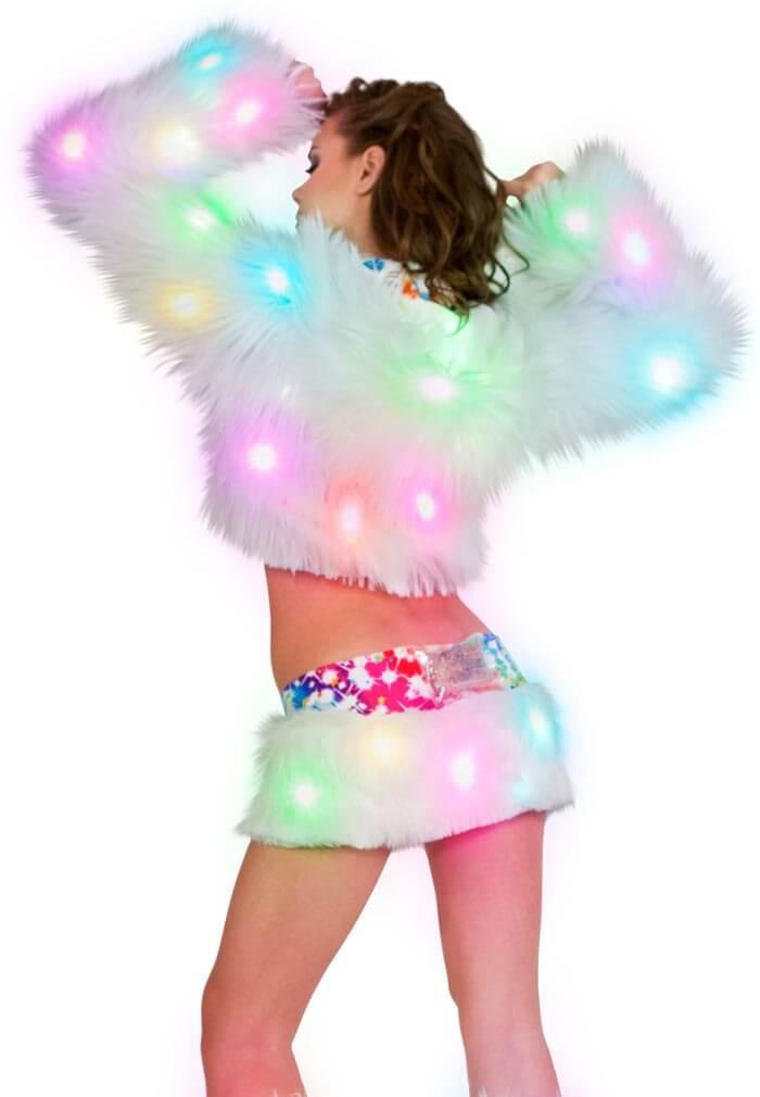 Light Up Cropped Jacket LED Fur Jacket From RaveReady