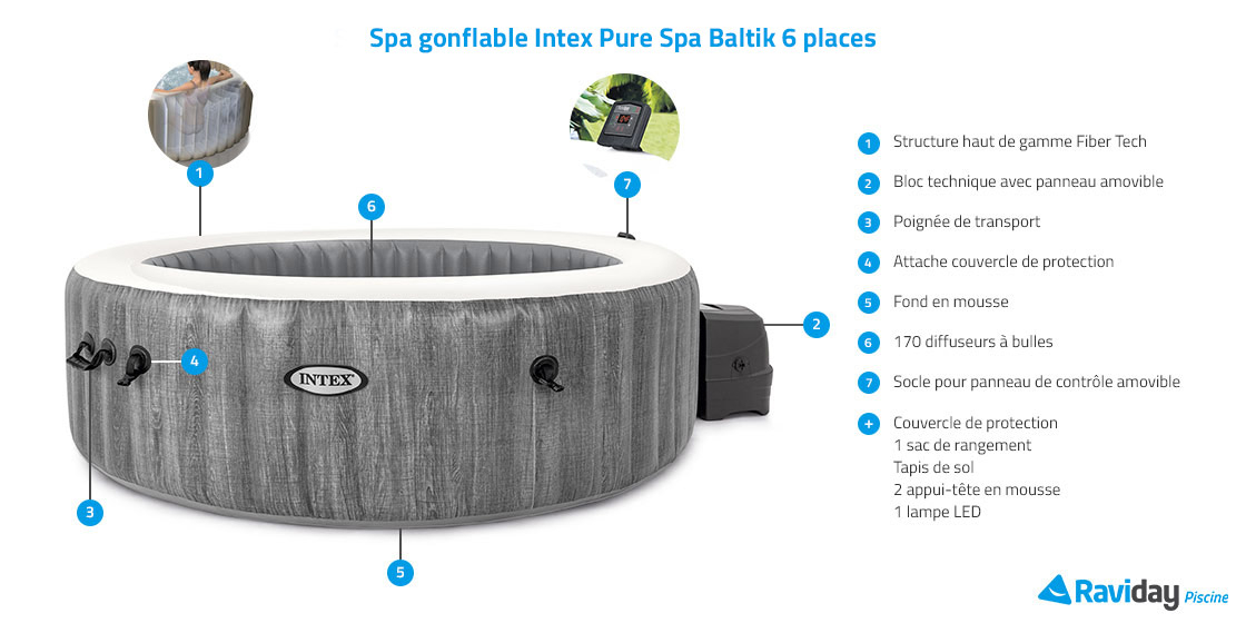 spa gonflable intex purespa baltik 6 places