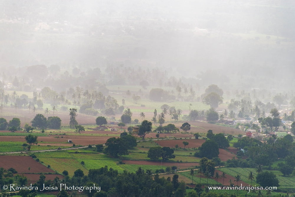 view from Makalidurga hill of rainfall