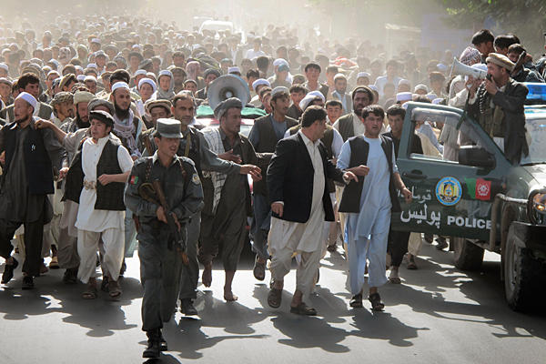 Afghan protesters throng the streets following the killing of four people in a NATO raid