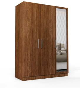 3 Doors Wardrobe with Mirror in Viking Teak finish   Rawat Funiture     three door wardrobe with mirror in viking teak finish in ply by  primorati three door wardrobe
