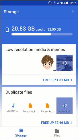 Files Go by Google for Android home screen