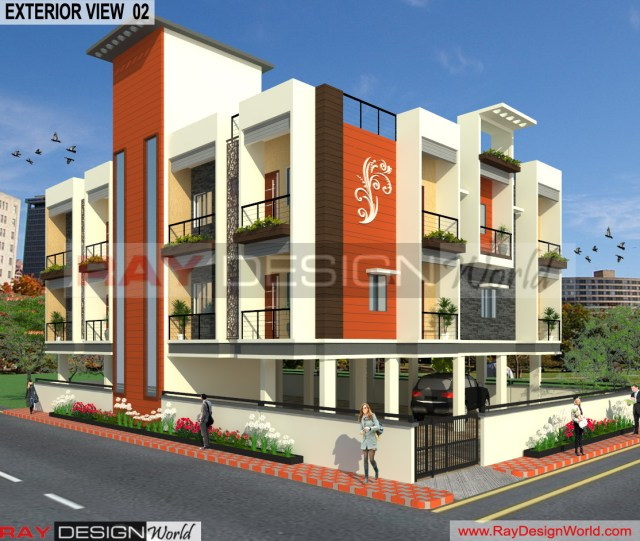 Apartment Design - 3D Exterior view 02 -Lucknow Uttar Pradesh - Mr.Narendra Kumar Tripathi