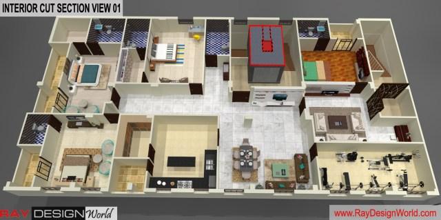 House Design 3D Cut Section - Nandyal Andhra Pradesh - Dr.Balaji Obula Reddy
