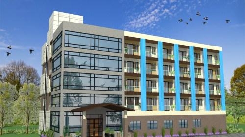 Hotel Design - 3D Exterior View 01 - Gwalior M.P- Mr. Vivek Gupta