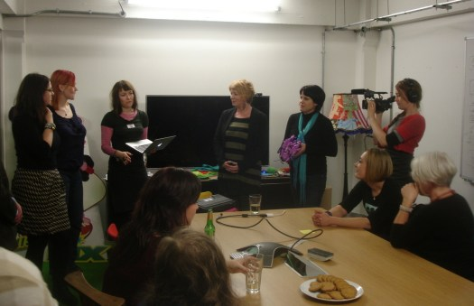 Dr. Jo Twist announces the prize for the first all-woman game jam.
