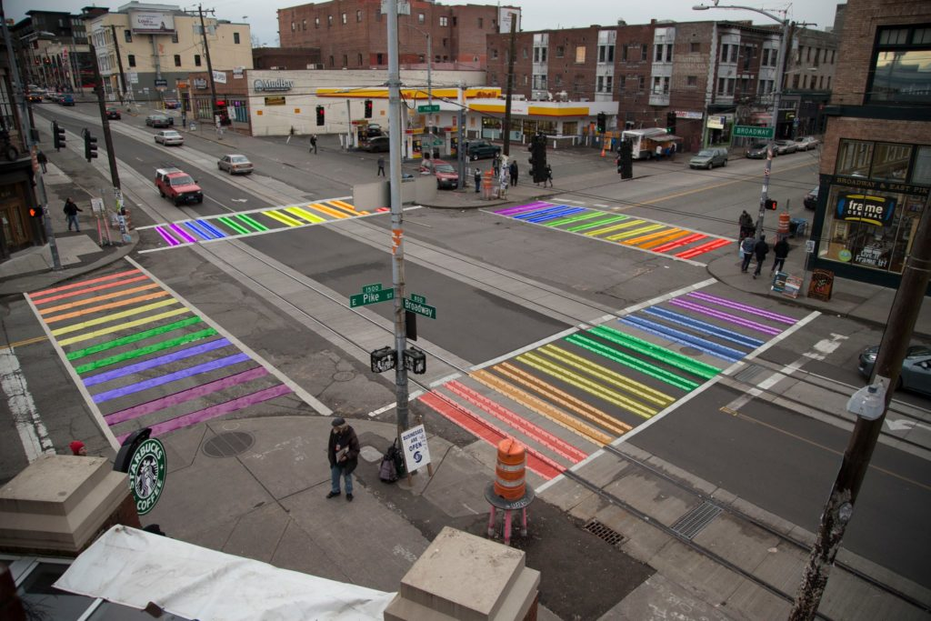 rainbow crosswalks