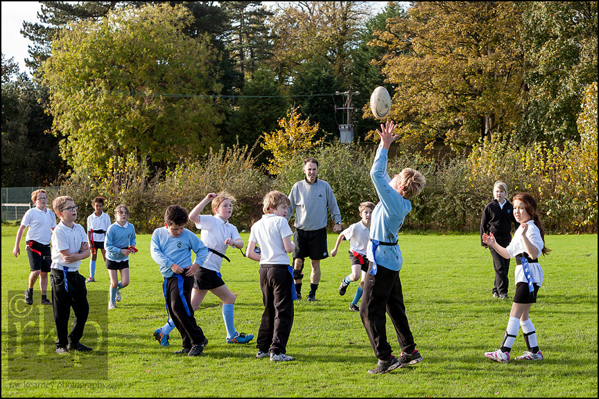 Cransley school pupils playing touch rugby